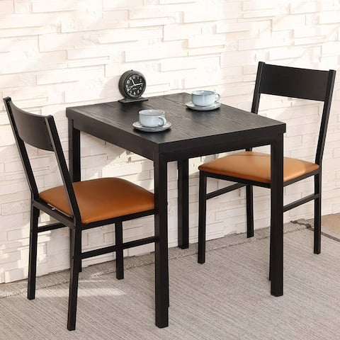 3 Piece Dining Table Set with Cushioned Chairs, Espresso and Brown
