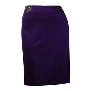 Laundry by Shelli Segal Women's Faux Leather Trim Pencil Skirt (4, Blackberry) - 4