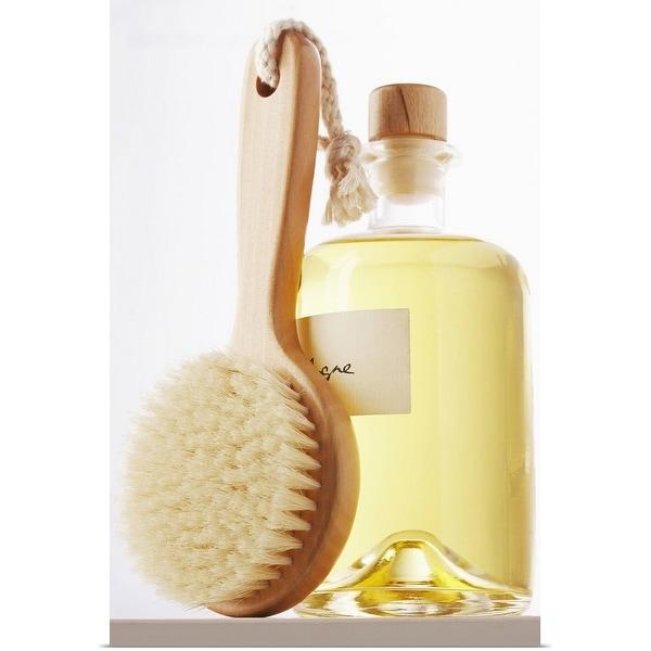 """Small bath brush leaning against jar of eau de cologne, close-up"" Poster Print"