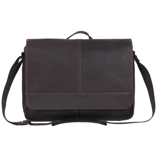 Kenneth Cole Reaction Risky Business Full-Grain Colombian Leather Slim Flapover Crossbody Laptop & Tablet Messenger Bag. Opens flyout.