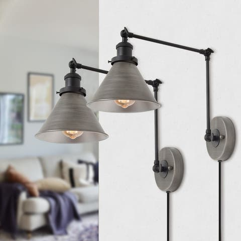 Modern Set of 2 Plug-in Adjustable Brushed Silver Swing Arm Wall Sconce for Bedroom