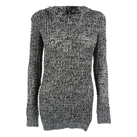 Ultra Flirt Juniors' V-Neck Marled Hooded Tunic Sweater