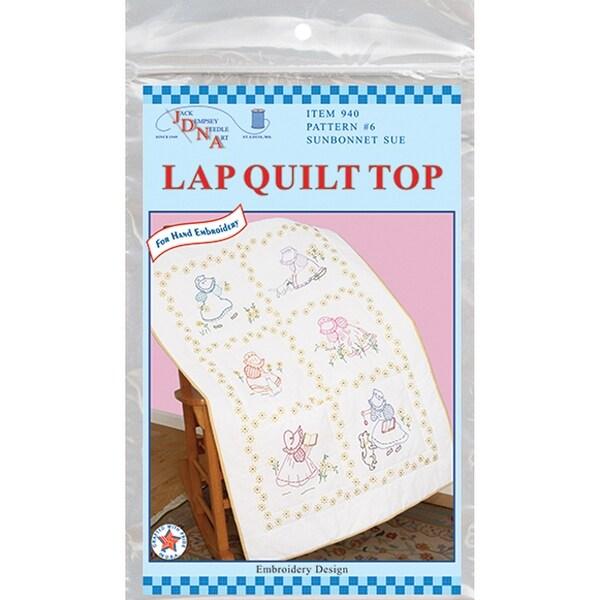 """Stamped White Lap Quilt Top 40""""X60""""-Sunbonnet Sue"""