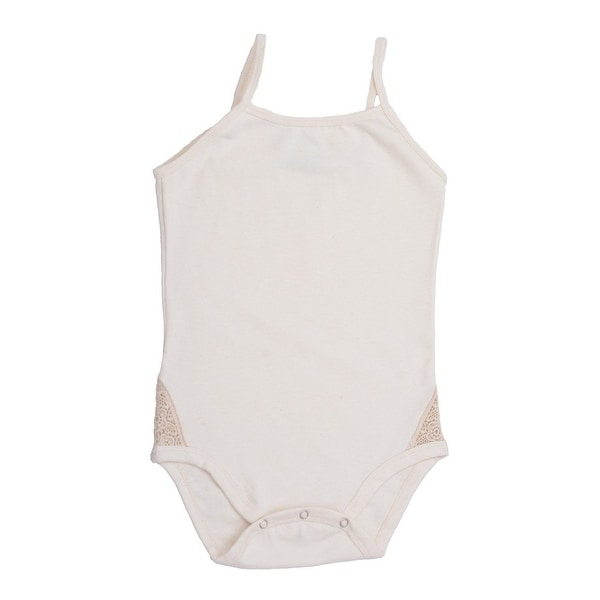 Baby Girls White Spaghetti Strap Organic Cotton Bodysuit 0-12M