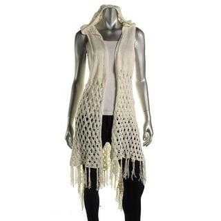 Sioni Womens Knit Sleeveless Cardigan Top - L/XL
