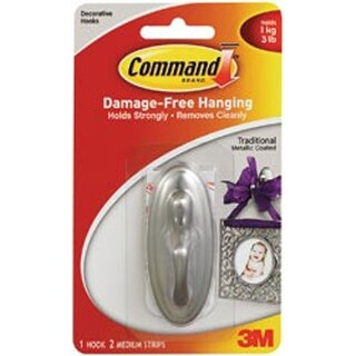 Brushed Nickel 1 Hook & 2 Strips - Command Medium Traditional Hooks