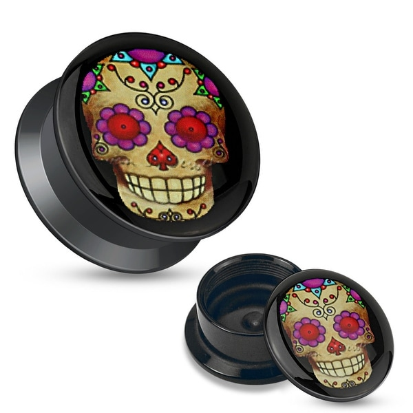 Violet Sugar Skull Black Acrylic Stash Screw Fit Plug (Sold Individually)