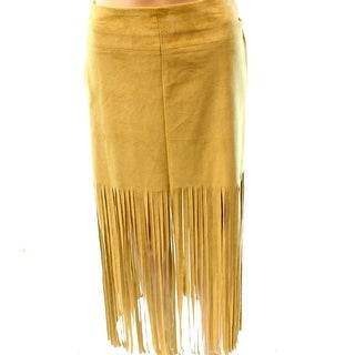 INC NEW Beige Women's Size Medium M Faux Suede A-Line Fringed Skirt
