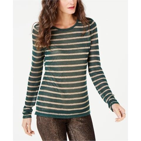Michael Kors Womens Metallic Stripe Pullover Sweater, green, Large