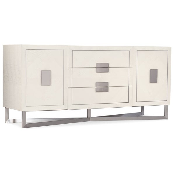 """Hooker Furniture 638-85456 Kennsington 70"""" Wide 2 Shelf Anigre Wood and Stainless Steel Accent Cabinet from the Melange - White"""