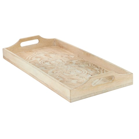 """Wooden Tray With Handles Rectangle Tray With Flower Carving 21 X 10"""" Brown - 21 x 10 x 3"""