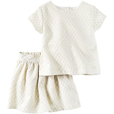 40d75957e60 Shop Carter s Little Girls  2 Piece Metallic Jacquard Top and Skirt ...