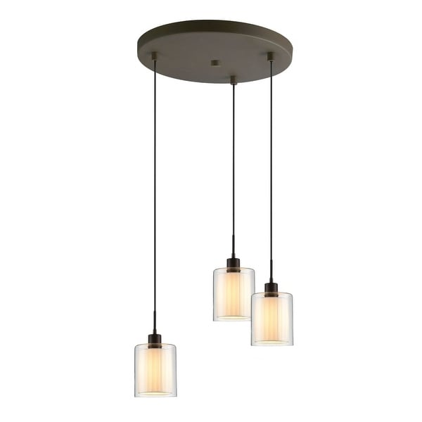 Woodbridge Lighting 14724-GS10610 3 Light Full Sized Multi Light Pendant with Cream Fabric Shades from the Alaina Collection