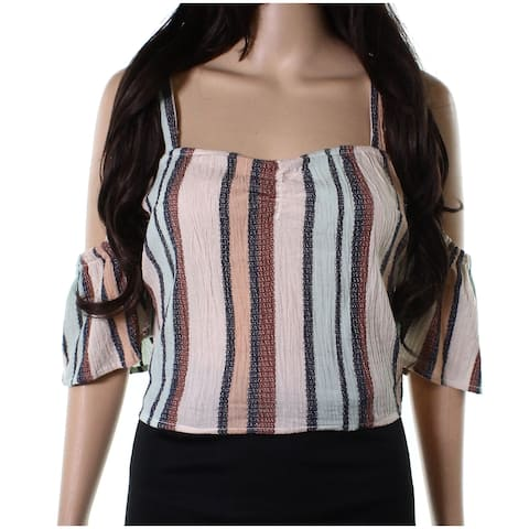 Angie Beige Womens Large Striped Cold Shoulder Crop Top