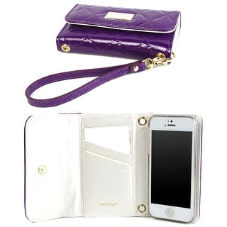 JAVOedge Purple Quilted Slim Folding Clutch Wallet Case / Card Holder with Wristlet for the Apple iPhone 5S / iPhone 5