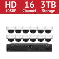 LaView 16 Channel 1080p IP NVR with (12) 1080p Dome Cameras and a 3TB HDD