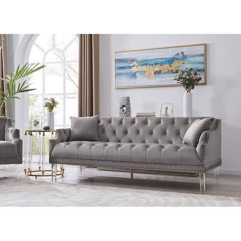 Chic Home Eva Velvet Upholstered Button Tufted Sofa
