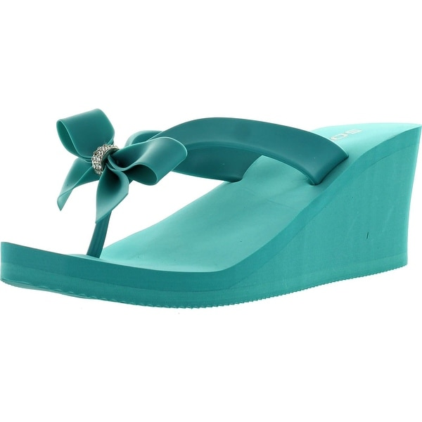 2f4c86faf Shop Soda Womens Broach Bow Tie Thong Flip Flop Platform Wedge 2 3 4 ...