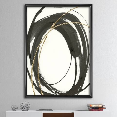Designart 'Gold Glamour Circle I' Posh & Luxe Framed Art Print