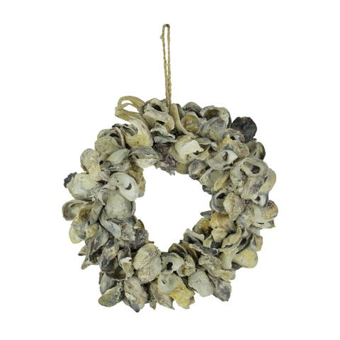 Natural Oyster Shell Wreath Indoor Outdoor 14 inch - 16 X 16 X 5 inches