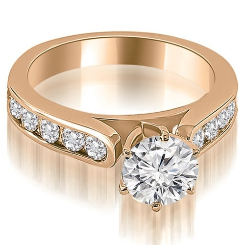 2.25 cttw. 14K Rose Gold Cathedral Style Round Cut Diamond Engagement Ring