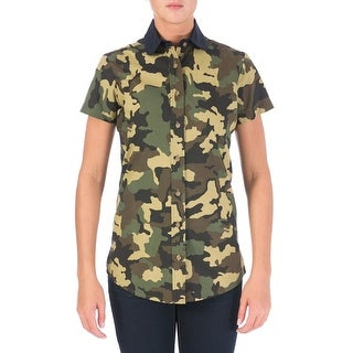 Harvey Faircloth Womens Deacon Button-Down Top Camouflage Club Collar