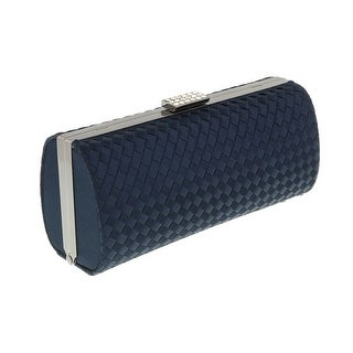 Scheilan Navy Fabric Weave Box Clutch/Shoulder Bag - 7.5-3.5-2