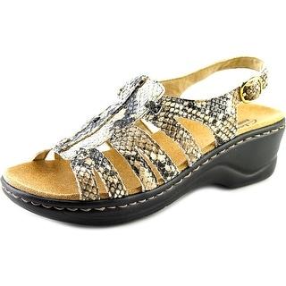 Clarks Lexi Marigold Q Women W Square Toe Canvas Tan Slingback Sandal