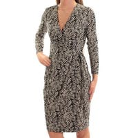 c14e0485d7d ANNE KLEIN Womens Black Printed Long Sleeve V Neck Above The Knee Sheath  Dress Size