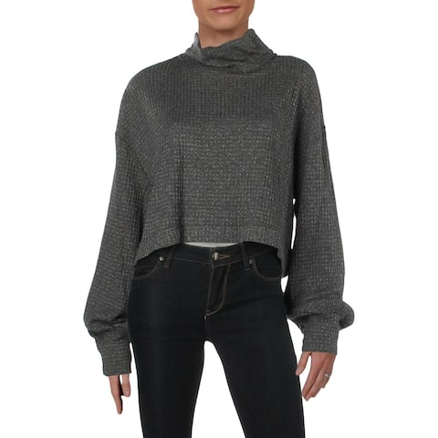Free People Womens Turtleneck Sweater Cropped Pullover