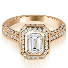 2.00 cttw. 14K Rose Gold Pave Emerald Cut Halo Engagement Diamond Ring