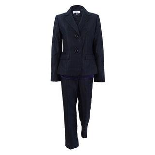 Le Suit Women's Three-Piece Two-Button Striped Pantsuit - Black/Eggplant
