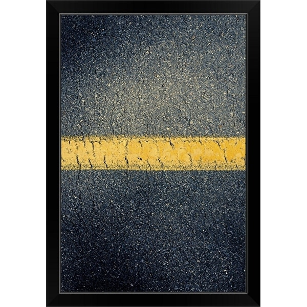 """""""High angle view of stripe in road"""" Black Framed Print"""