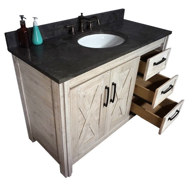49 Special Edition Solid Fir Wood Single Bathroom Vanity In Sawed Pattern Design And Handpainted White Color With Marble Top Overstock 32480373