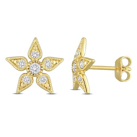 Eternally Yours 3/8ct TW Lab Created Diamond Floral Stud Earrings in 18k Yellow Gold Plated Sterling Silver