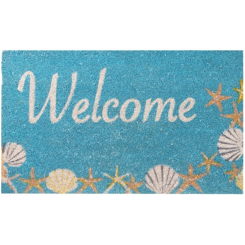 "Envelor Non-Slip Coastal Seashells and Starfish Coco Entrance Mat Welcome Doormat, 18"" x 30"""