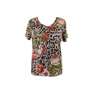 Hc Casuals Brown Multi Short-Sleeve V-Neck Mixed Print T-Shirt M