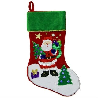 """18"""" Red Velveteen Santa Claus Sequined Christmas Stocking with Green Cuff"""