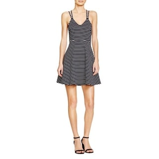 French Connection Womens Skater Dress Striped Criss-Cross Back