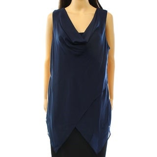 Alfani NEW Blue Navy Women's Size Small S Chiffon Cowl Neck Tank Blouse
