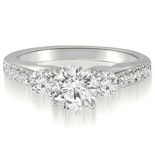 1.22 cttw. 14K White Gold Three-Stone Round Cut Diamond Engagement Ring