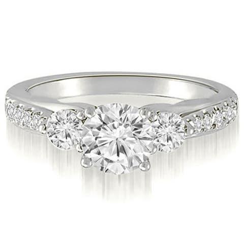 1.77 cttw. 14K White Gold Three-Stone Round Cut Diamond Bridal Set