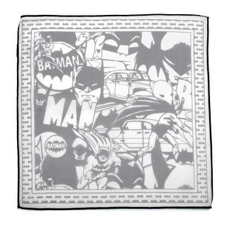 Batman Cotton Pocket Square with Black Trim