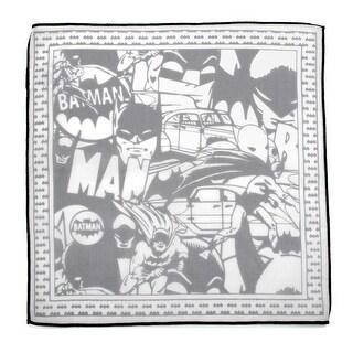 Batman Cotton Pocket Square with Black Trim