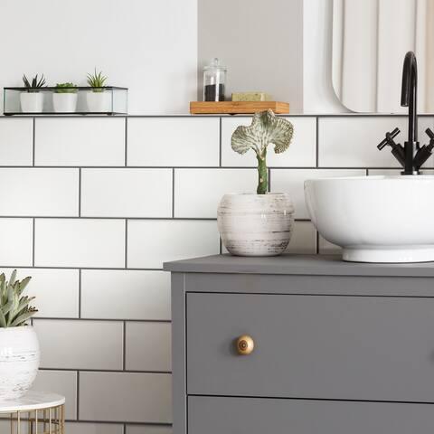 "SomerTile Piscina Brick Blanco Brillo 4.75"" x 9.63"" Porcelain Floor and Wall Subway Tile"