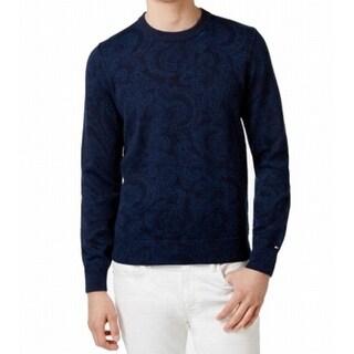 Tommy Hilfiger NEW Blue Mens Size XL Paisley Knit Crewneck Sweater