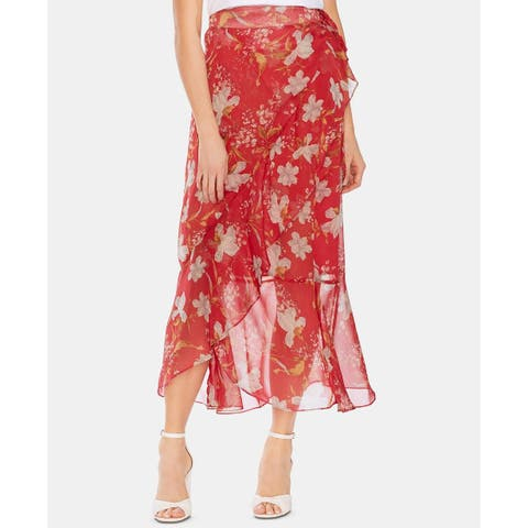 Vince Camuto Women's Floral Wrap Skirt Red Size 12