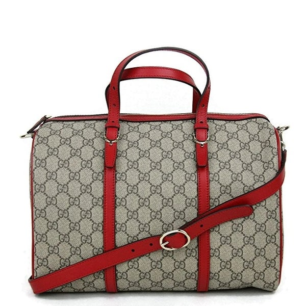 Gucci Beige Ebony GG Supreme Canvas Nice Medium Boston Bag