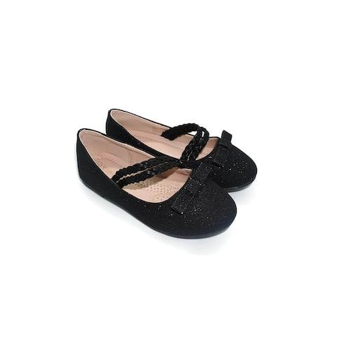 Pipiolo Girls Black Bow Double Strap Mary Jane Ballerina Flats