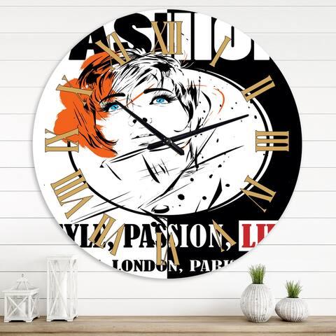 Designart 'Style Passion Life Fashion Girl IV' Vintage wall clock